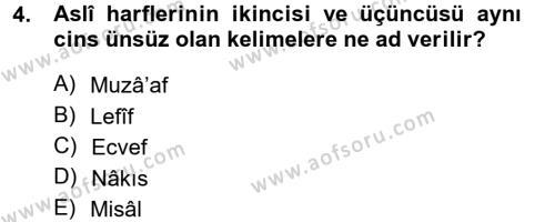 Osmanlı Türkçesi Grameri 1 Dersi 2012 - 2013 Yılı (Final) Dönem Sonu Sınav Soruları 4. Soru