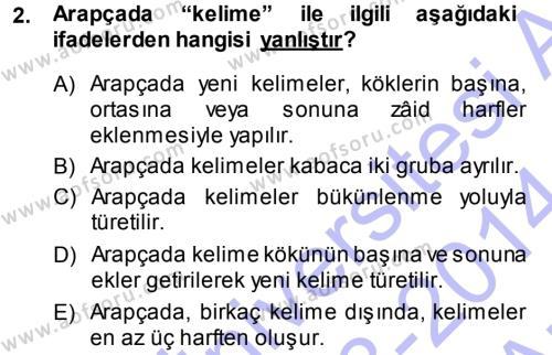 Osmanlı Türkçesi Grameri 1 Dersi 2013 - 2014 Yılı (Vize) Ara Sınav Soruları 2. Soru
