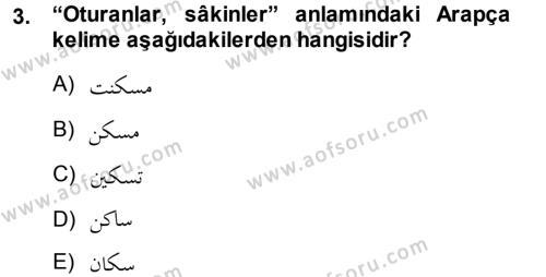Osmanlı Türkçesi Grameri 1 Dersi 2013 - 2014 Yılı (Vize) Ara Sınav Soruları 3. Soru