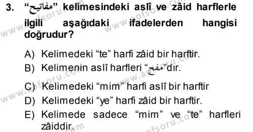 Osmanlı Türkçesi Grameri 1 Dersi 2013 - 2014 Yılı (Final) Dönem Sonu Sınav Soruları 3. Soru