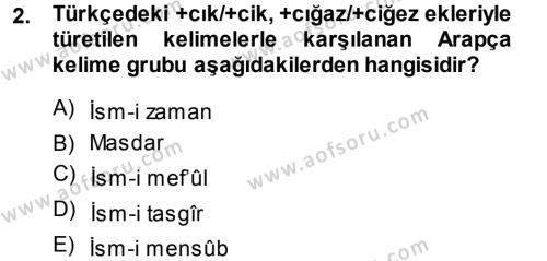 Osmanlı Türkçesi Grameri 1 Dersi 2014 - 2015 Yılı (Vize) Ara Sınav Soruları 2. Soru