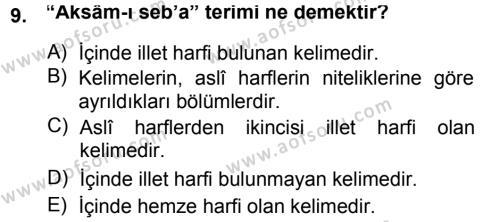 Osmanlı Türkçesi Grameri 1 Dersi Ara Sınavı Deneme Sınav Soruları 9. Soru