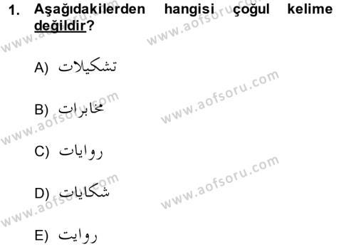 Osmanlı Türkçesi Grameri 1 Dersi 2014 - 2015 Yılı (Final) Dönem Sonu Sınav Soruları 1. Soru