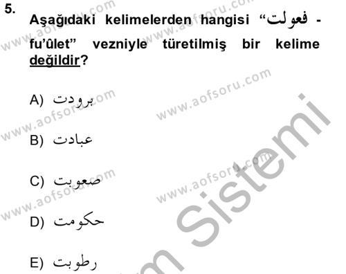 Osmanlı Türkçesi Grameri 1 Dersi Dönem Sonu Sınavı Deneme Sınav Soruları 5. Soru