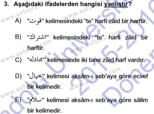 Türk Dili ve Edebiyatı Bölümü 3. Yarıyıl Osmanlı Türkçesi Grameri I Dersi 2016 Yılı Güz Dönemi Dönem Sonu Sınavı 3. Soru
