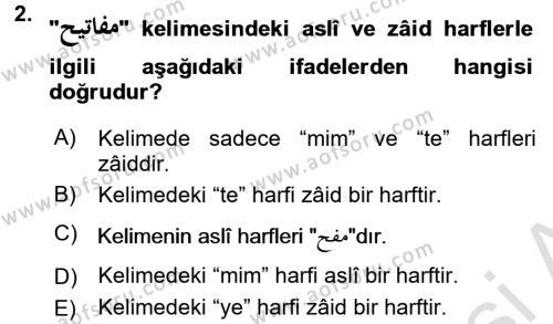 Osmanlı Türkçesi Grameri 1 Dersi 2016 - 2017 Yılı (Vize) Ara Sınav Soruları 2. Soru