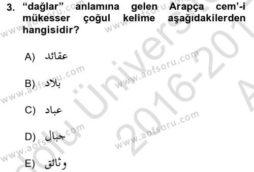 Osmanlı Türkçesi Grameri 1 Dersi 2016 - 2017 Yılı (Vize) Ara Sınav Soruları 3. Soru