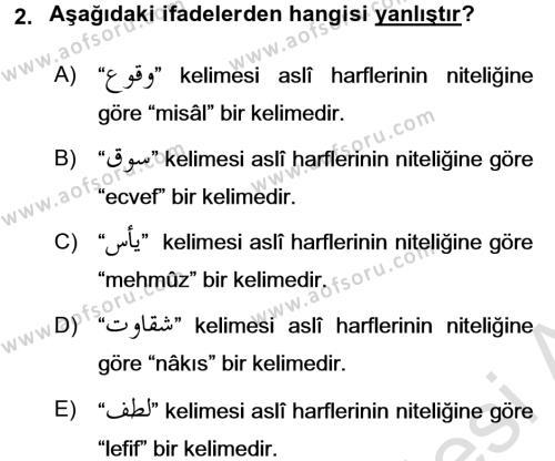 Osmanlı Türkçesi Grameri 1 Dersi 2017 - 2018 Yılı (Vize) Ara Sınav Soruları 2. Soru