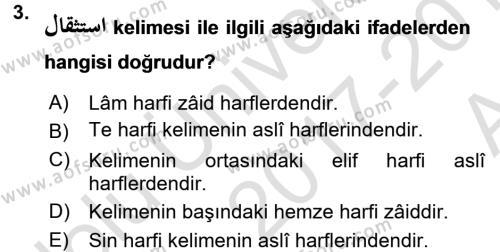 Osmanlı Türkçesi Grameri 1 Dersi 2017 - 2018 Yılı (Vize) Ara Sınav Soruları 3. Soru