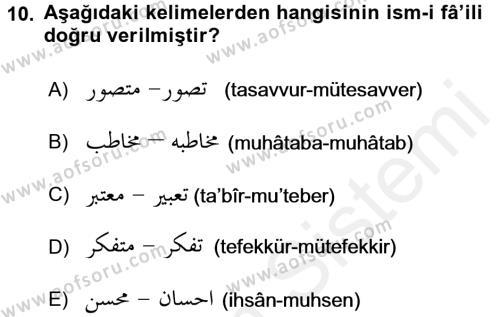 Osmanlı Türkçesi Grameri 1 Dersi Dönem Sonu Sınavı Deneme Sınav Soruları 10. Soru