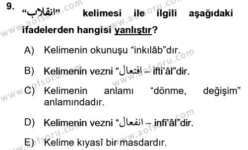 Osmanlı Türkçesi Grameri 1 Dersi Dönem Sonu Sınavı Deneme Sınav Soruları 9. Soru