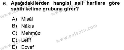 Osmanlı Türkçesi Grameri 1 Dersi Ara Sınavı Deneme Sınav Soruları 6. Soru