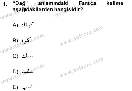 Osmanlı Türkçesi Grameri 2 Dersi 2013 - 2014 Yılı (Vize) Ara Sınav Soruları 1. Soru