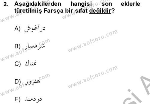 Osmanlı Türkçesi Grameri 2 Dersi 2013 - 2014 Yılı (Vize) Ara Sınav Soruları 2. Soru