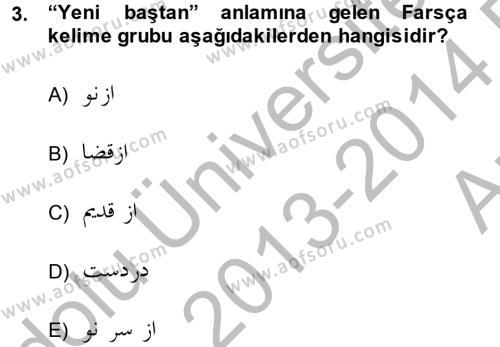 Osmanlı Türkçesi Grameri 2 Dersi 2013 - 2014 Yılı (Vize) Ara Sınav Soruları 3. Soru