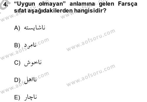 Osmanlı Türkçesi Grameri 2 Dersi 2013 - 2014 Yılı (Vize) Ara Sınav Soruları 4. Soru