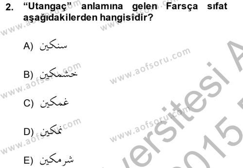 Osmanlı Türkçesi Grameri 2 Dersi 2014 - 2015 Yılı (Final) Dönem Sonu Sınav Soruları 2. Soru
