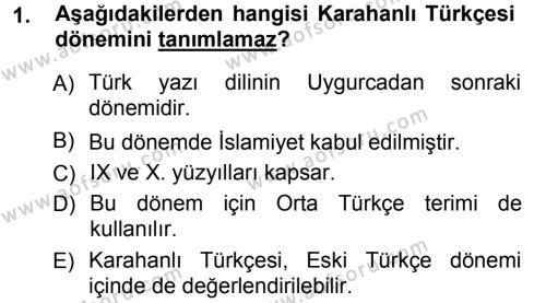 Türk Dili ve Edebiyatı Bölümü 5. Yarıyıl XI-XIII. Yüzyıllar Türk Dili Dersi 2013 Yılı Güz Dönemi Ara Sınavı 1. Soru