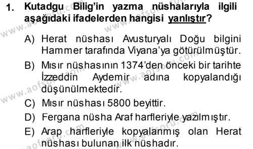 Türk Dili ve Edebiyatı Bölümü 5. Yarıyıl XI-XIII. Yüzyıllar Türk Dili Dersi 2014 Yılı Güz Dönemi Ara Sınavı 1. Soru