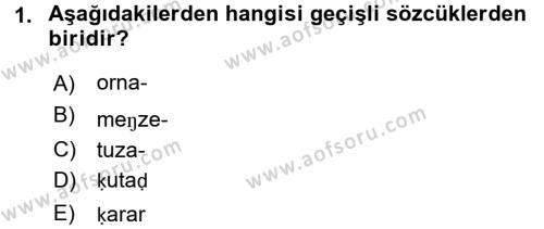 Türk Dili ve Edebiyatı Bölümü 5. Yarıyıl XI-XIII. Yüzyıllar Türk Dili Dersi 2016 Yılı Güz Dönemi Dönem Sonu Sınavı 1. Soru