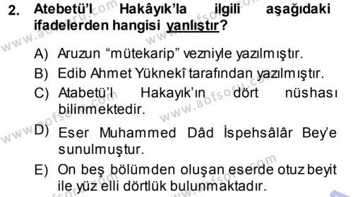 XI-XIII. Yüzyıllar Türk Dili Dersi 2013 - 2014 Yılı (Vize) Ara Sınav Soruları 2. Soru