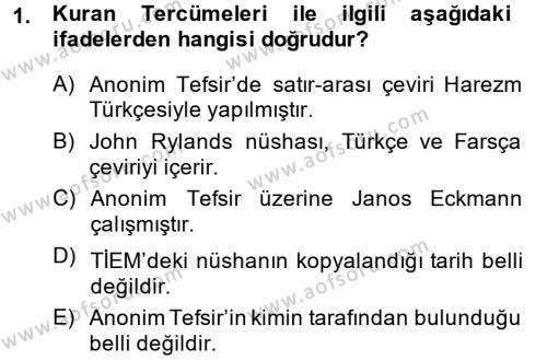 XI-XIII. Yüzyıllar Türk Dili Dersi 2013 - 2014 Yılı Tek Ders Sınavı 1. Soru