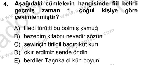 XI-XIII. Yüzyıllar Türk Dili Dersi 2013 - 2014 Yılı Tek Ders Sınavı 4. Soru