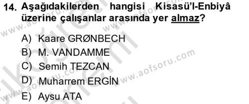 XI-XIII. Yüzyıllar Türk Dili Dersi Tek Ders Sınavı Deneme Sınav Soruları 14. Soru