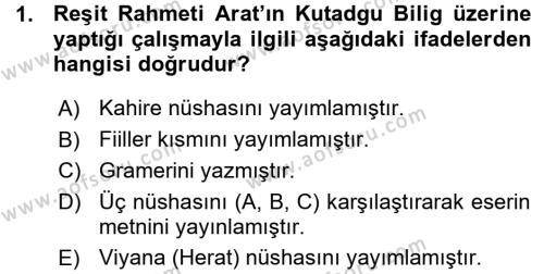 XI-XIII. Yüzyıllar Türk Dili Dersi 2015 - 2016 Yılı (Vize) Ara Sınav Soruları 1. Soru