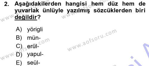XI-XIII. Yüzyıllar Türk Dili Dersi 2015 - 2016 Yılı (Vize) Ara Sınav Soruları 2. Soru