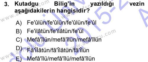 XI-XIII. Yüzyıllar Türk Dili Dersi 2015 - 2016 Yılı (Vize) Ara Sınav Soruları 3. Soru