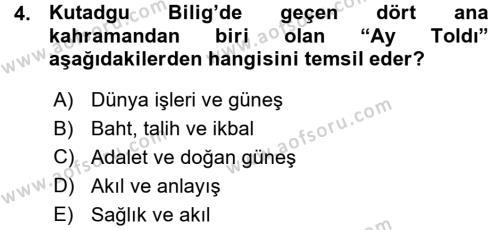 XI-XIII. Yüzyıllar Türk Dili Dersi 2015 - 2016 Yılı (Vize) Ara Sınav Soruları 4. Soru