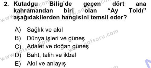 XI-XIII. Yüzyıllar Türk Dili Dersi 2015 - 2016 Yılı (Final) Dönem Sonu Sınav Soruları 2. Soru
