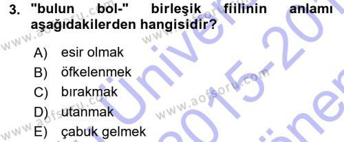 XI-XIII. Yüzyıllar Türk Dili Dersi 2015 - 2016 Yılı (Final) Dönem Sonu Sınav Soruları 3. Soru