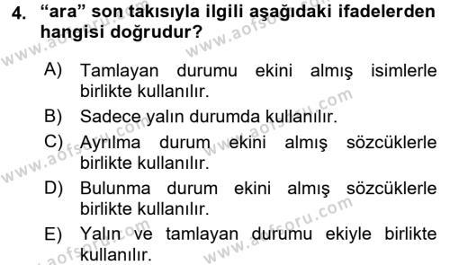 XI-XIII. Yüzyıllar Türk Dili Dersi 2015 - 2016 Yılı (Final) Dönem Sonu Sınav Soruları 4. Soru