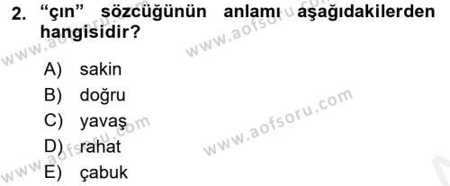 XI-XIII. Yüzyıllar Türk Dili Dersi 2015 - 2016 Yılı Tek Ders Sınav Soruları 2. Soru