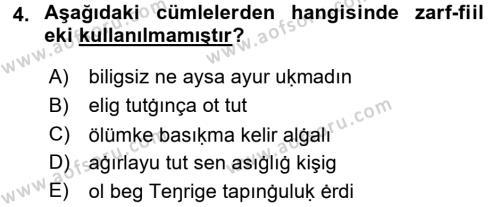 XI-XIII. Yüzyıllar Türk Dili Dersi 2015 - 2016 Yılı Tek Ders Sınav Soruları 4. Soru