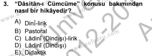 Türk Dili ve Edebiyatı Bölümü 6. Yarıyıl XIV-XV. Yüzyıllar Türk Dili Dersi 2013 Yılı Bahar Dönemi Ara Sınavı 3. Soru