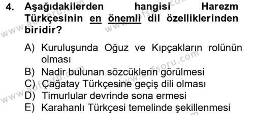 Türk Dili ve Edebiyatı Bölümü 6. Yarıyıl XIV-XV. Yüzyıllar Türk Dili Dersi 2013 Yılı Bahar Dönemi Ara Sınavı 4. Soru