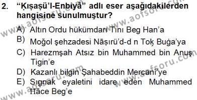 XIV-XV. Yüzyıllar Türk Dili Dersi 2013 - 2014 Yılı Tek Ders Sınav Soruları 2. Soru