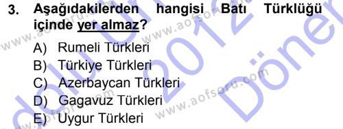 Çağdaş Türk Yazı Dilleri 1 Dersi 2012 - 2013 Yılı (Final) Dönem Sonu Sınav Soruları 3. Soru