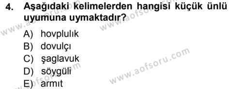 Çağdaş Türk Yazı Dilleri 1 Dersi 2012 - 2013 Yılı (Final) Dönem Sonu Sınav Soruları 4. Soru