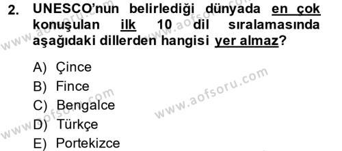 Çağdaş Türk Yazı Dilleri 1 Dersi 2014 - 2015 Yılı (Vize) Ara Sınav Soruları 2. Soru
