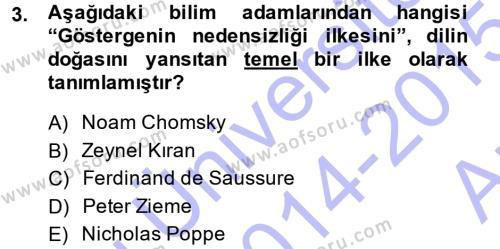 Çağdaş Türk Yazı Dilleri 1 Dersi 2014 - 2015 Yılı (Vize) Ara Sınav Soruları 3. Soru