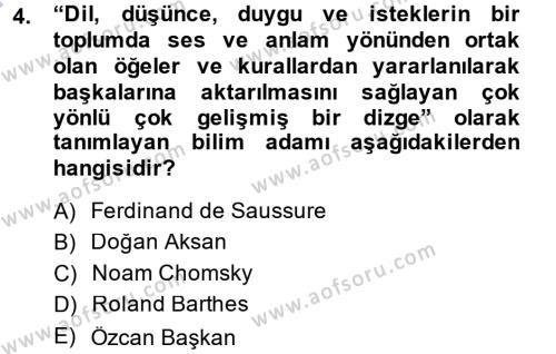 Çağdaş Türk Yazı Dilleri 1 Dersi 2014 - 2015 Yılı (Vize) Ara Sınav Soruları 4. Soru