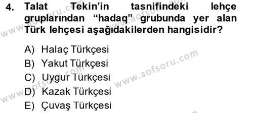 Çağdaş Türk Yazı Dilleri 1 Dersi 2014 - 2015 Yılı (Final) Dönem Sonu Sınav Soruları 4. Soru
