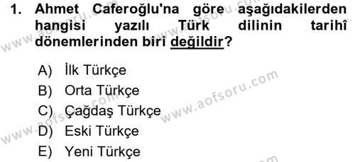 Çağdaş Türk Yazı Dilleri 1 Dersi 2015 - 2016 Yılı (Vize) Ara Sınav Soruları 1. Soru