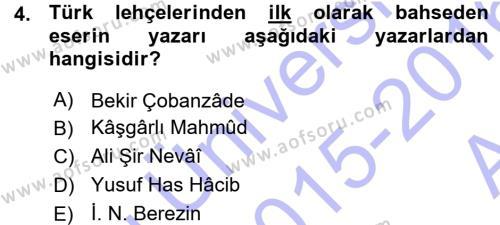 Çağdaş Türk Yazı Dilleri 1 Dersi 2015 - 2016 Yılı (Vize) Ara Sınav Soruları 4. Soru