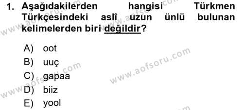 Çağdaş Türk Yazı Dilleri 1 Dersi 2015 - 2016 Yılı Tek Ders Sınav Soruları 1. Soru