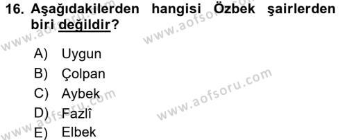 Çağdaş Türk Yazı Dilleri 1 Dersi Tek Ders Sınavı Deneme Sınav Soruları 16. Soru